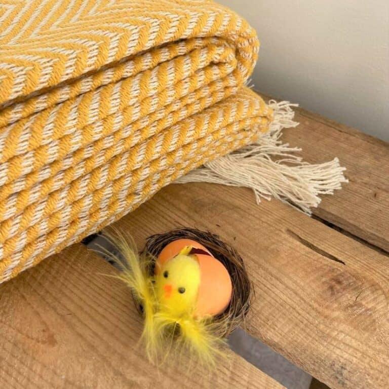 plaid jaune chevron coton